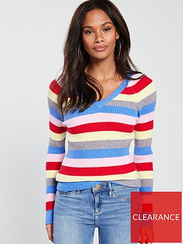 v-by-very-skinny-rib-v-neck-jumper-stripe