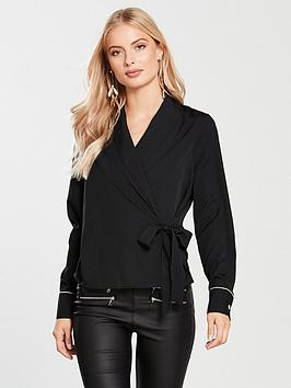 Vero Moda Attend Wrap Top - Black