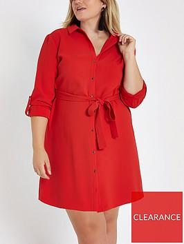 ri-plus-buttoned-shirt-dress-red