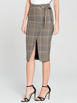 river-island-check-wrap-skirt-brown