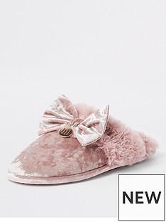 river-island-river-island-velvet-slipper-pink