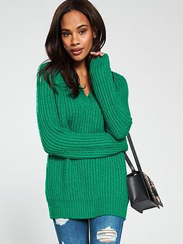 v-by-very-chunky-v-neck-fisherman-rib-jumper-green