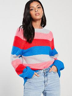 v-by-very-colour-blocked-stripe-blouson-sleeve-jumper-multi