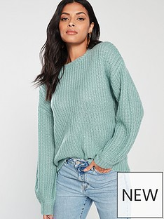 v-by-very-crew-neck-blouson-sleeve-jumper-green