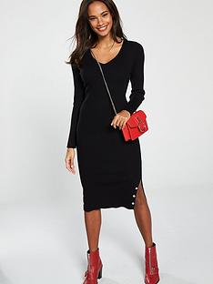 v-by-very-skinny-rib-popper-hem-detail-knitted-midi-dress-black