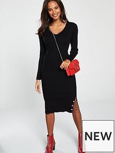 v-by-very-skinny-rib-popper-hem-detail-knitted-midi-dress-black
