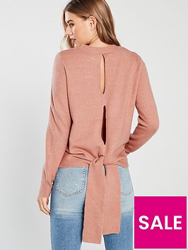 v-by-very-cut-out-back-detail-bow-jumper