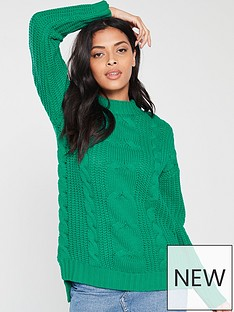 v-by-very-volume-sleeve-cable-knit-jumper-green
