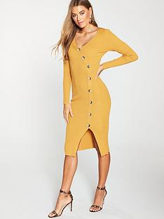 cebbbc88caf V by Very V-neck Side Button Skinny Rib Knitted Dress - Ochre