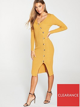 v-by-very-v-neck-side-button-skinny-rib-knitted-dress-ochre