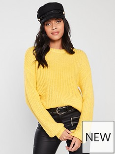v-by-very-crew-neck-blouson-sleeve-jumper-yellow