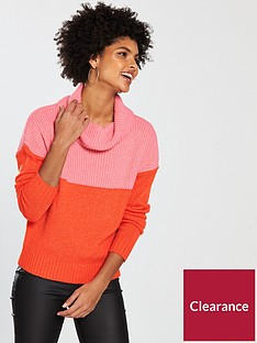v-by-very-colourblock-roll-neck-jumper-pinkred