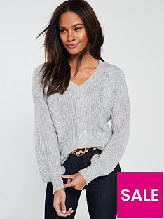 v-by-very-cable-v-neck-blouson-sleeve-jumper-grey-marl