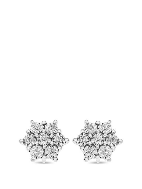dacc4b48c6c95 Sterling Silver 8 Point Diamond Cluster Stud Earrings