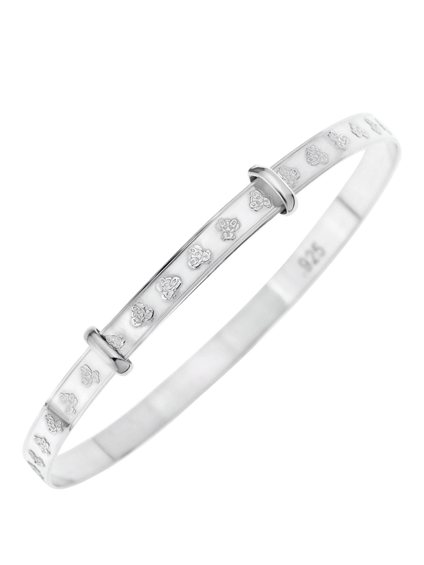 925 Sterling Silver Plated 5 Hearts Bracelet Bangle Gift Jewellery Women UK Gift