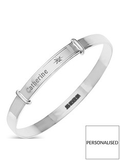 the-love-silver-collection-sterling-silver-diamond-set-children039s-personalised-expander-bangle
