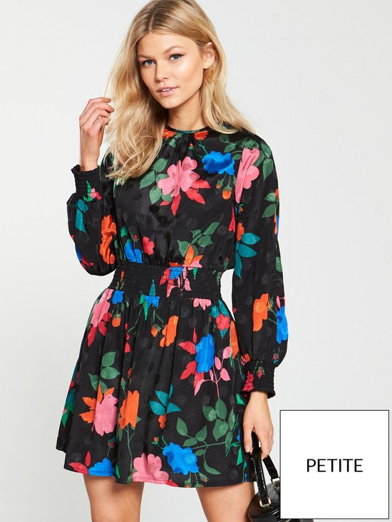 69383097715471 V by Very Petite Jacquard Tea Dress - Floral | very.co.uk