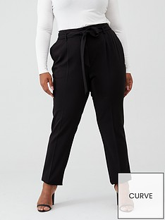 v-by-very-curve-tie-waist-tapered-trouser-black
