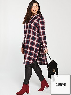 v-by-very-curve-longline-checked-shirt-printed