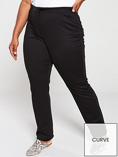 dc37b0cad75 V by Very Curve Ponte Straight Leg Trouser - Black