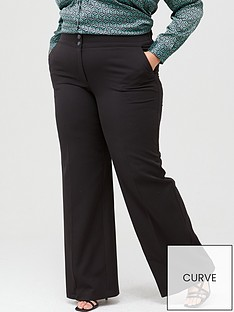 9af335db907 V by Very Curve Wide Leg Trouser - Black