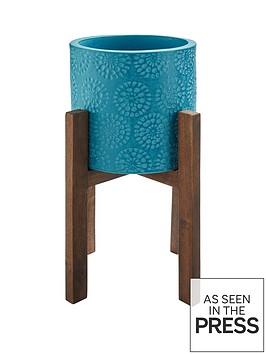 mid-blue-planter-on-wooden-legs