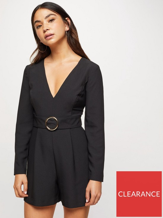 fd4226dddb7 Miss Selfridge Petite Buckle Detail Long Sleeve Playsuit - Black ...
