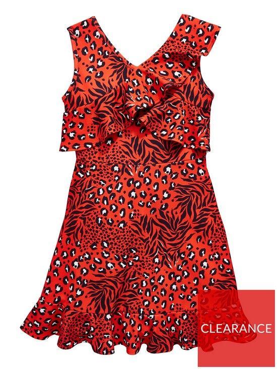 1ad42845f V by Very Girls Leopard Print Frill Party Dress   very.co.uk