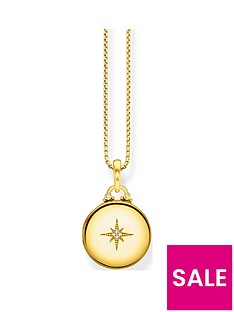 thomas-sabo-gold-plated-cubic-zirconia-round-pendant-necklace