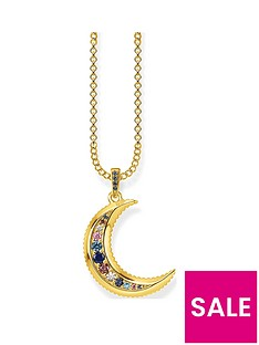 thomas-sabo-gold-plated-gem-moon-pendant-necklace