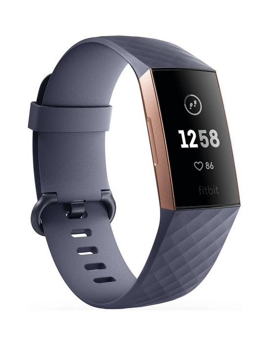 d82bc333cbd5 Fitbit Charge 3 - Rose Gold Blue Grey