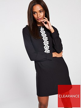 v-by-very-daisy-trim-collar-detail-a-line-dress-blackwhite