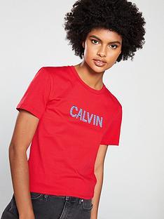 b7c81067ef Calvin Klein Jeans Stripe Logo T-shirt - Racing Red