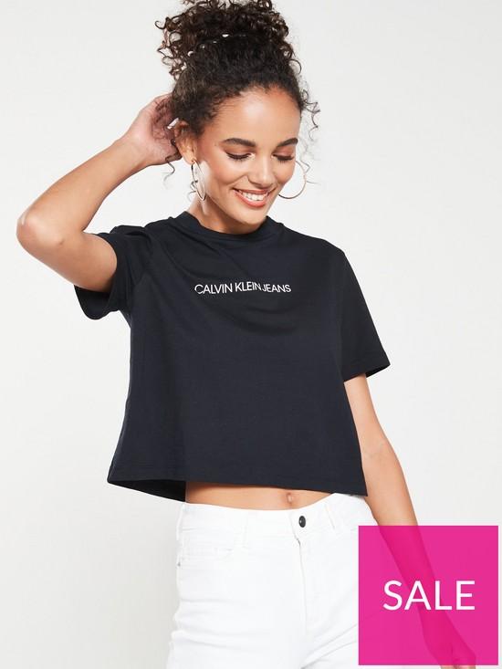 4bc51827 Calvin Klein Shrunken Institutional Crop T-shirt - Black | very.co.uk
