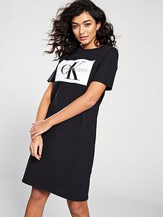 calvin-klein-monogram-t-shirt-dress-black