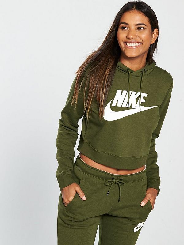 656c1dd0f08f Nike Sportswear Rally Cropped Hoodie - Olive | very.co.uk