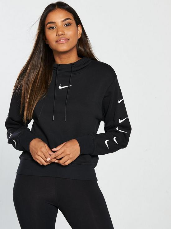 0203c4e28dc Nike Sportswear Cropped Swoosh Hoodie - Black | very.co.uk