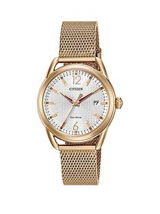 citizen-eco-drive-ltr-collection-white-patterned-dial-rose-gold-tone-stainless-steel-mesh-bracelet-ladies-watch