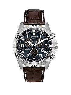 citizen-citizen-eco-drive-perpetual-calendar-deep-blue-dial-chronograph-titanium-case-brown-leather-strap-mens-watch