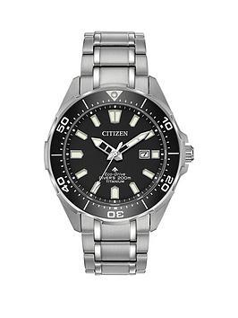 citizen-eco-drive-promaster-dive-black-dial-titanium-bracelet-mens-watch