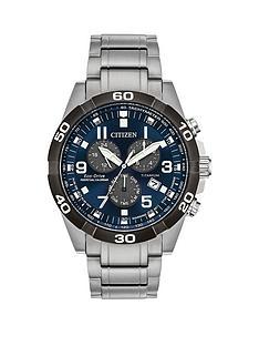 citizen-eco-drive-perpetual-calendar-blue-dial-chronograph-titanium-bracelet-mens-watch