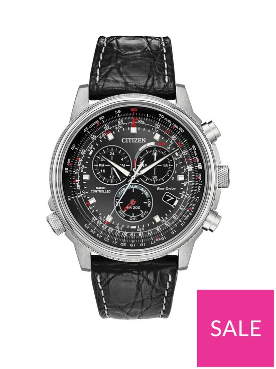 240c323c2 Citizen Eco-Drive Limited Edition Perpetual Chrono A. T Radio Controlled  Black Dial Black Crocodile Leather Strap Mens Watch