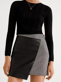 mango-pu-check-mini-skirt-black