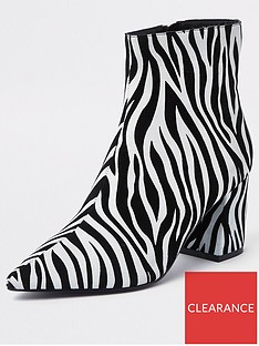 e572516d95d River Island River Island Block Heel Point Ankle Boot - Zebra