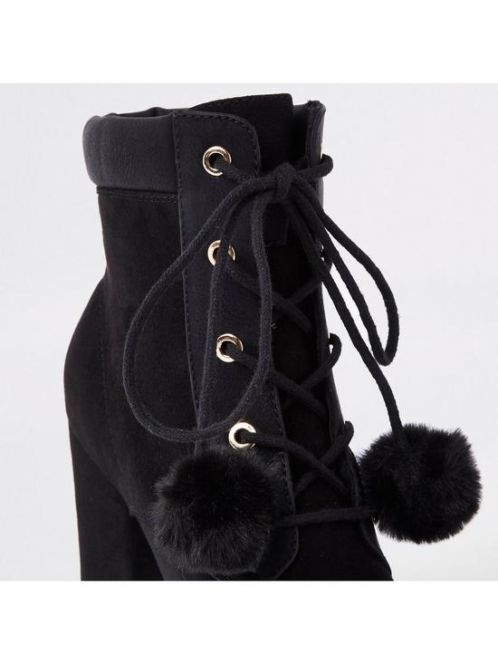 39ccb804e2d River Island Pom Pom Lace Up Boot - Black
