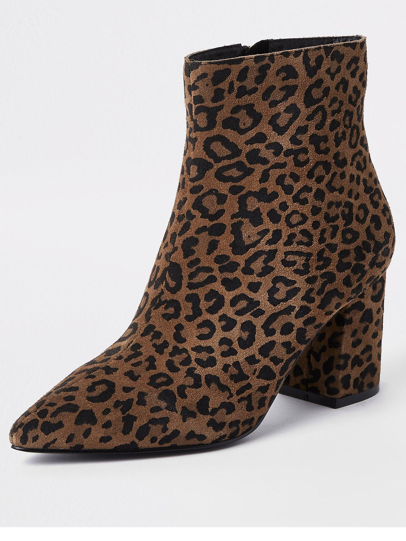 Print Heeled Ankle Boot - Leopard