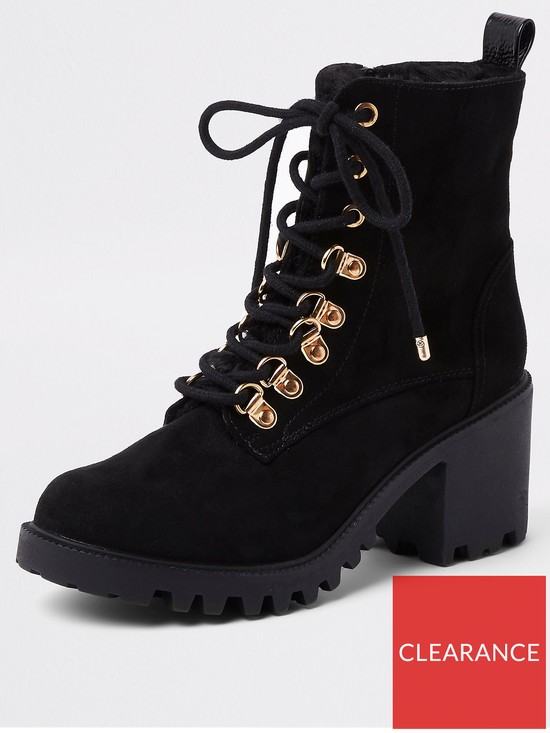 92f8e2070d River Island River Island Lace Up Chunky Sole Boot - Black | very.co.uk
