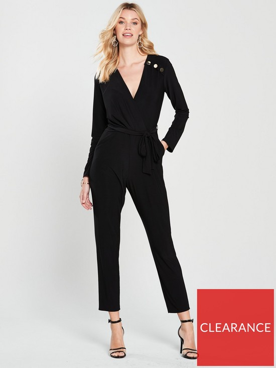 45176f5457a Wallis Stud Wrap Jumpsuit - Black