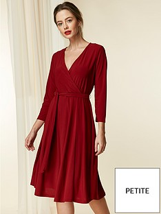wallis-petite-wrap-jersey-dress-berry