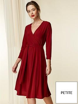 wallis-petite-wrap-jersey-dress-berry